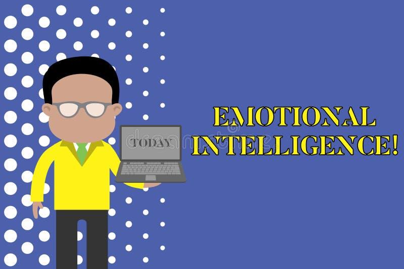 Nota de la escritura que muestra inteligencia emocional El uno mismo de exhibici?n de la foto del negocio y la conciencia social  ilustración del vector