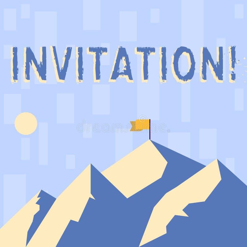 Nota de la escritura que muestra la invitación La foto del negocio que muestra la petición escrita o verbal alguien de ir en algu libre illustration