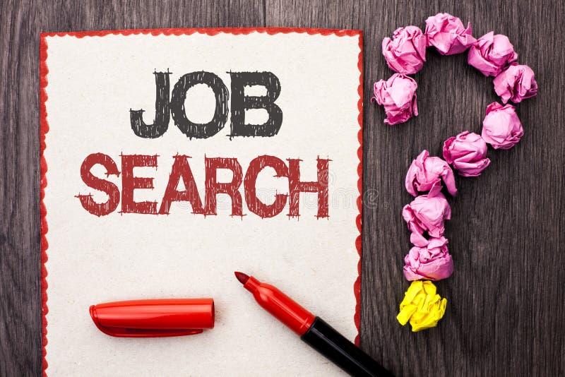 Nota de la escritura que muestra a Job Search Recluta de exhibición del reclutamiento del empleo de la oportunidad de la vacante  imagen de archivo libre de regalías