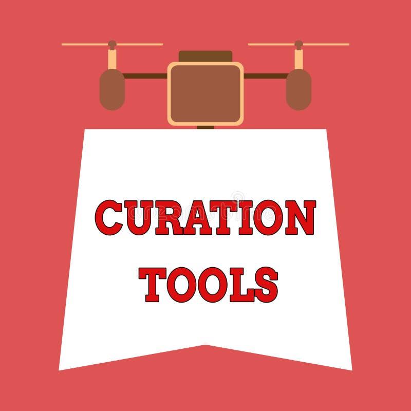 Nota de la escritura que muestra las herramientas de Curation Software de exhibición de la foto del negocio usado en la recopilac libre illustration