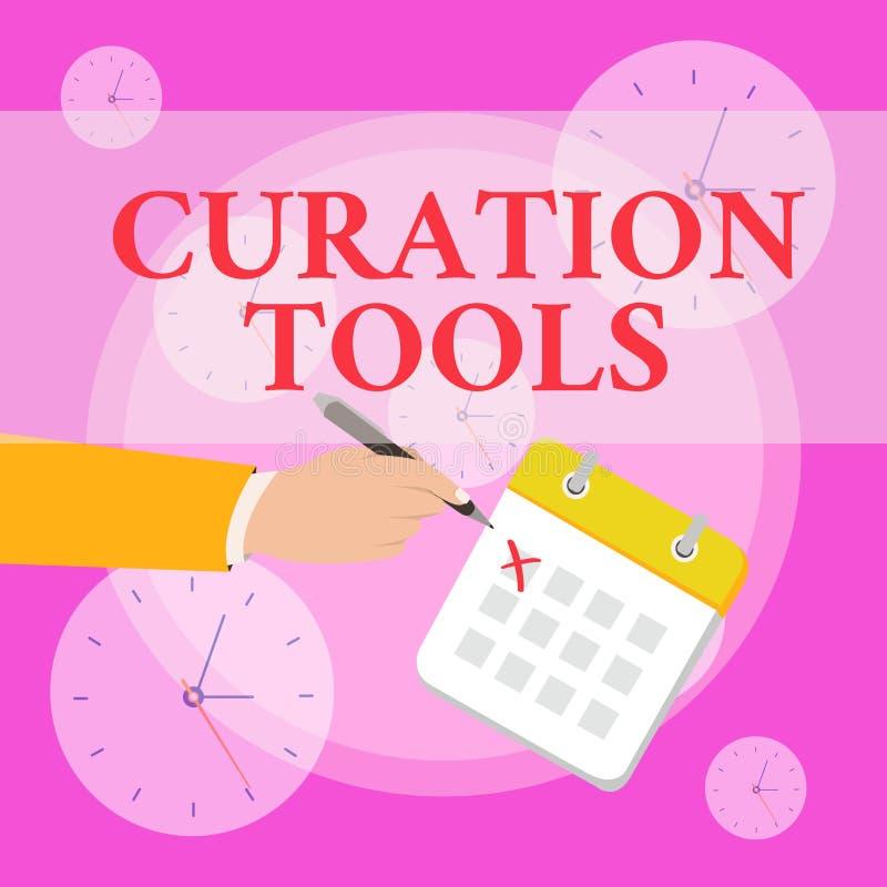 Nota de la escritura que muestra las herramientas de Curation Software de exhibición de la foto del negocio usado en la recopilac stock de ilustración