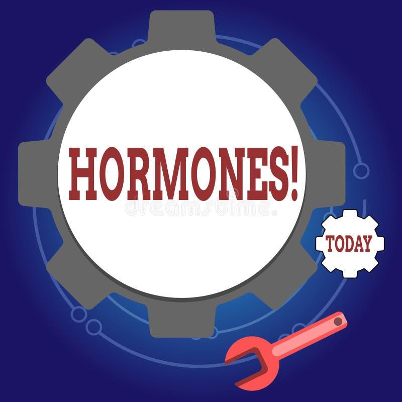 Nota de la escritura que muestra las hormonas La foto del negocio que mostraba la sustancia reguladora produjo en un organismo pa ilustración del vector