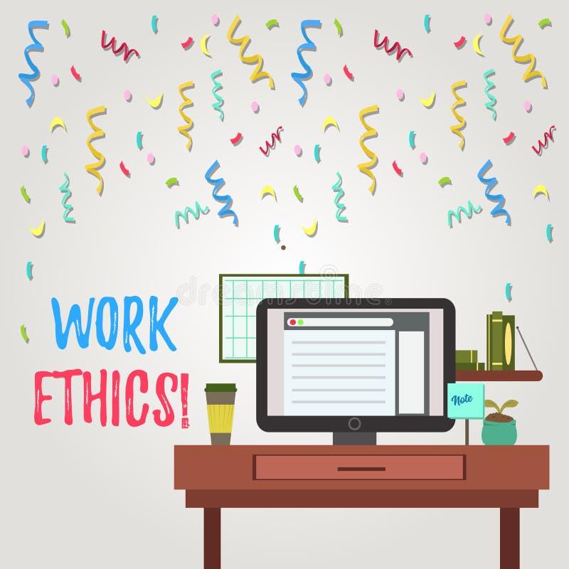 Nota de la escritura que muestra los éticas de trabajo Principio de exhibición de la foto del negocio que trabaja difícilmente di ilustración del vector