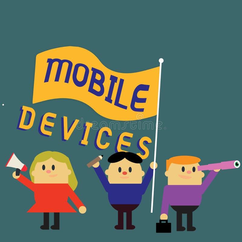 Nota de la escritura que muestra los dispositivos móviles La foto del negocio que muestra el dispositivo computacional portátil d ilustración del vector