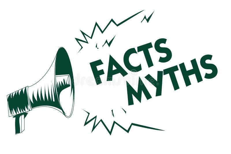 Nota de la escritura que muestra mitos de los hechos Trabajo de exhibición de la foto del negocio basado en la imaginación bastan stock de ilustración