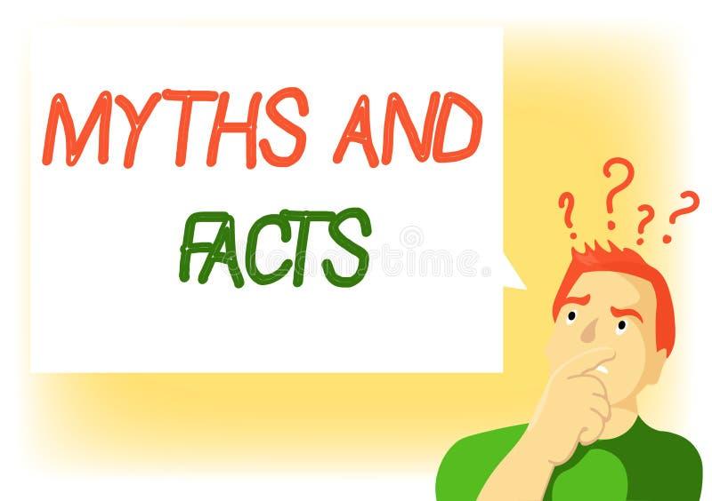Nota de la escritura que muestra mitos y hechos Foto del negocio que muestra concepto opositivo sobre período moderno y antiguo libre illustration