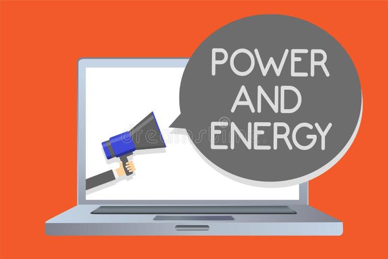 Nota de la escritura que muestra poder y energía Lío enérgico de exhibición de la red de la industria eléctrica de la distribució libre illustration
