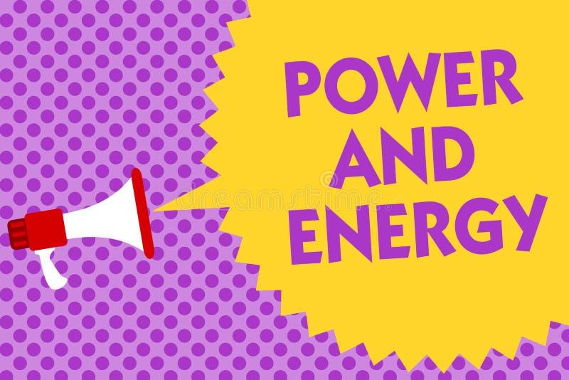 Nota de la escritura que muestra poder y energía Te multilínea enérgico de exhibición de la industria eléctrica de la distribució libre illustration