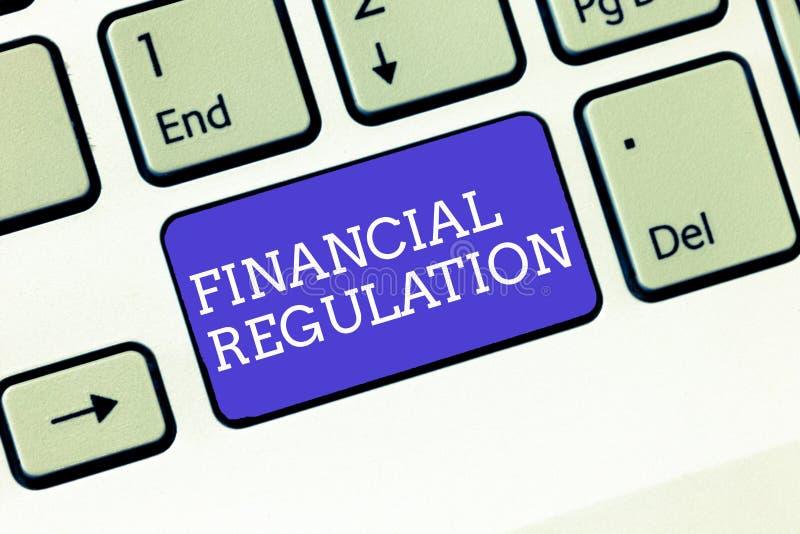 Nota de la escritura que muestra la regulación financiera Objetivo de exhibición de la foto del negocio para mantener la integrid imagen de archivo