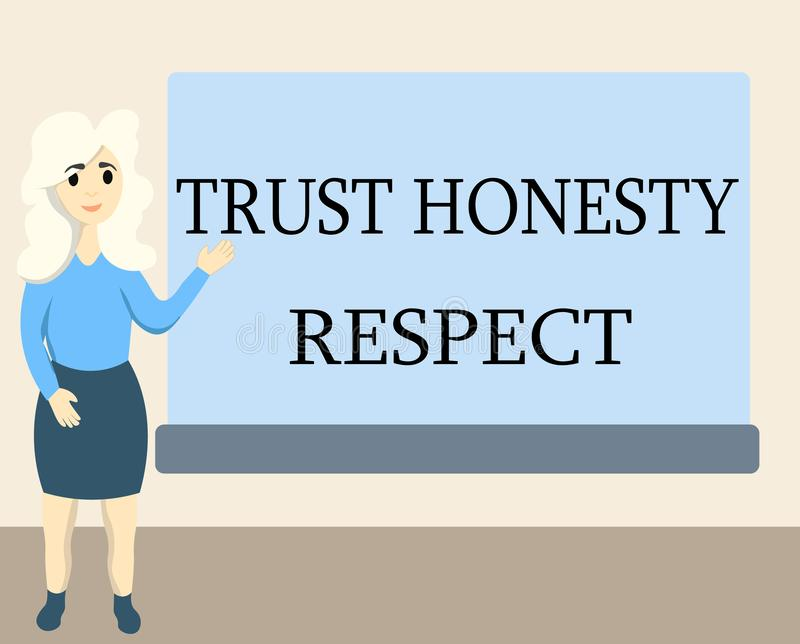 Nota de la escritura que muestra respecto de la honradez de la confianza Foto del negocio que muestra rasgos respetables una face stock de ilustración