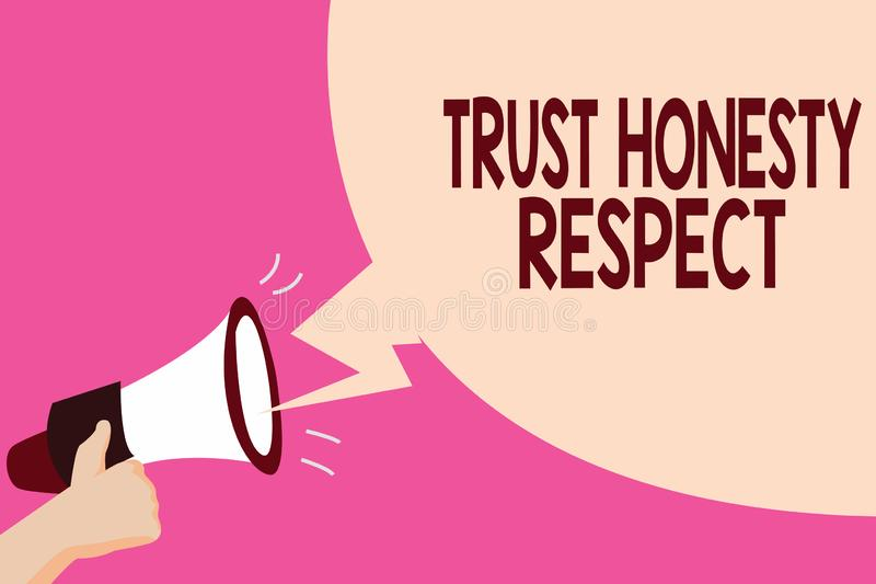 Nota de la escritura que muestra respecto de la honradez de la confianza Foto del negocio que muestra rasgos respetables una face ilustración del vector