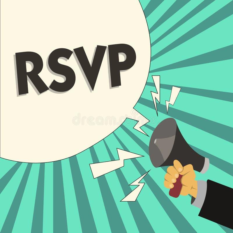 Nota de la escritura que muestra RSVP La foto del negocio que muestra por favor contesta a una invitación que indica a si una pla ilustración del vector