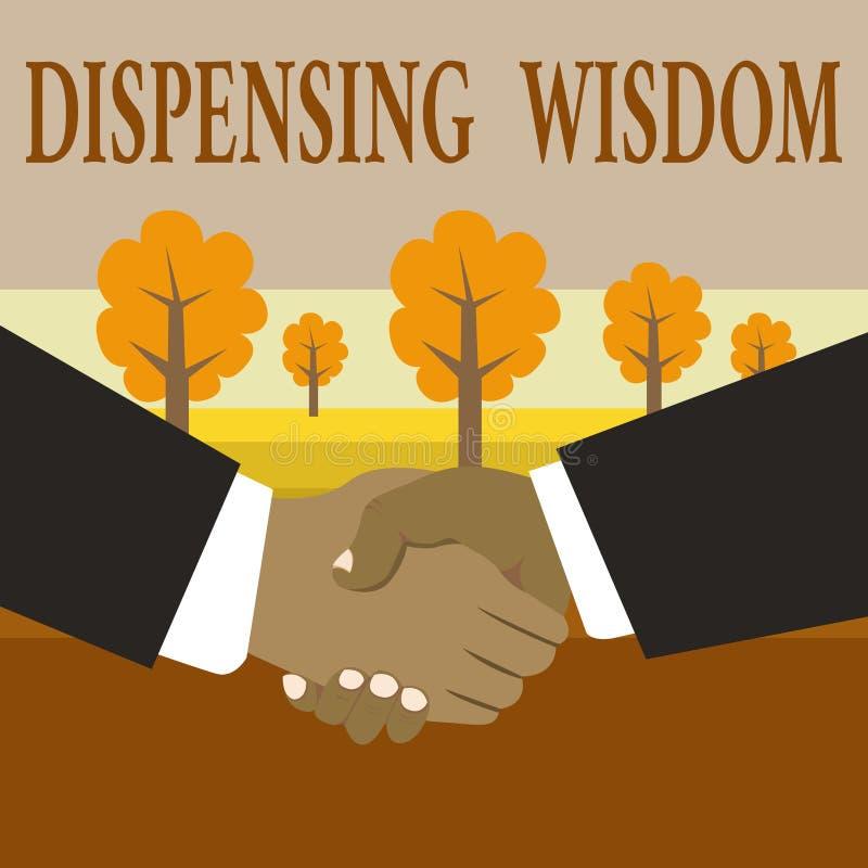 Nota de la escritura que muestra la sabidur?a de dispensaci?n La foto del negocio que muestra dando hechos intelectuales en la va stock de ilustración