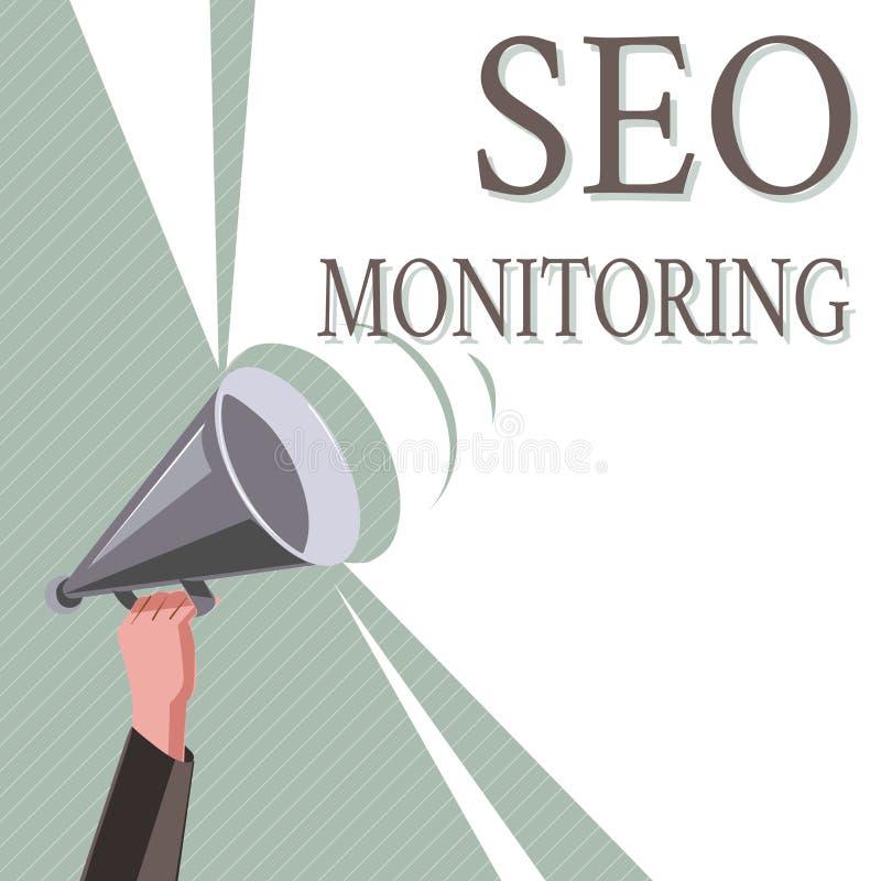 Nota de la escritura que muestra a Seo Monitoring Foto del negocio que muestra siguiendo el progreso de la estrategia hecho en la imagen de archivo libre de regalías