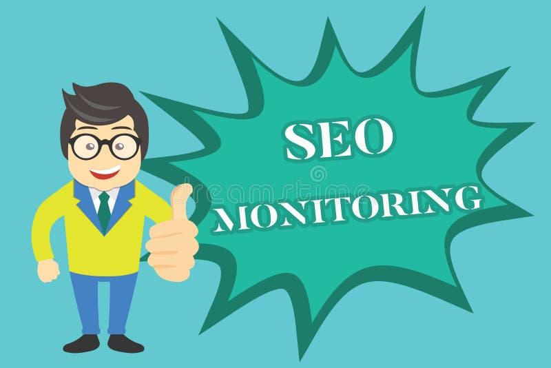 Nota de la escritura que muestra a Seo Monitoring Foto del negocio que muestra siguiendo el progreso de la estrategia hecho en la ilustración del vector