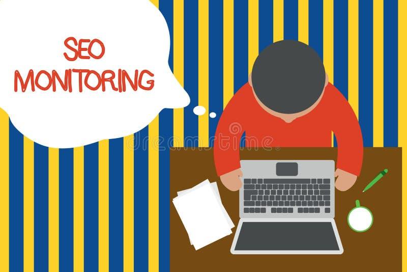 Nota de la escritura que muestra a Seo Monitoring Foto del negocio que muestra siguiendo el progreso de la estrategia hecho en la libre illustration