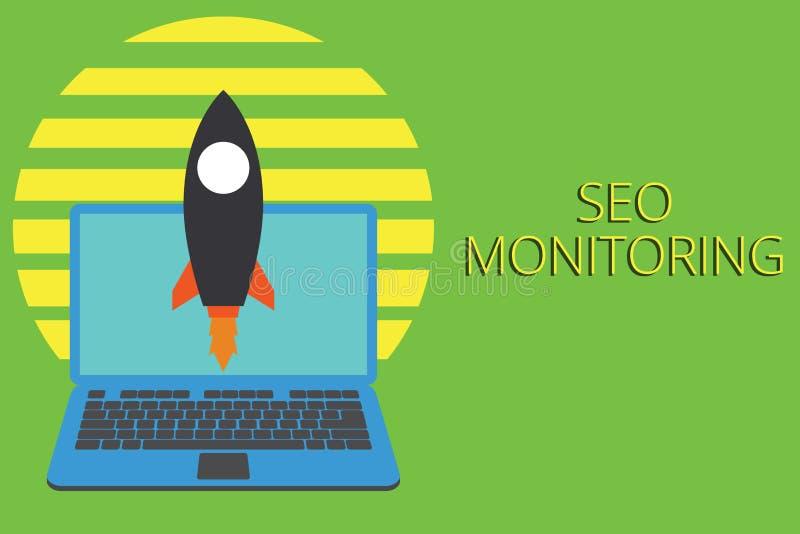 Nota de la escritura que muestra a Seo Monitoring Foto del negocio que muestra siguiendo el progreso de la estrategia hecho en la stock de ilustración