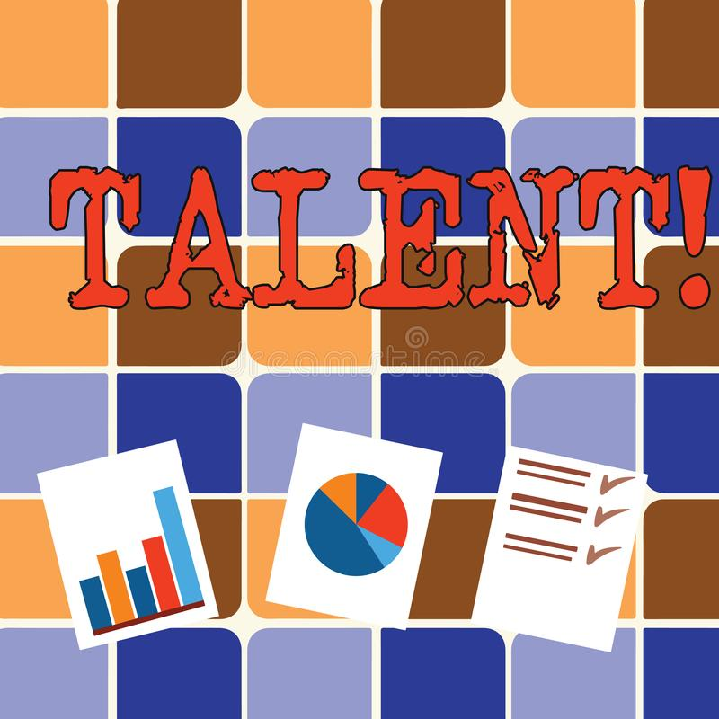 Nota de la escritura que muestra talento La foto del negocio que mostraba capacidades naturales de mostrar la demostración especi libre illustration