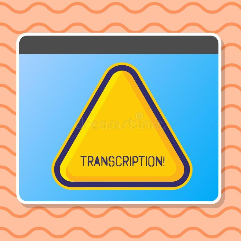 Nota de la escritura que muestra la transcripción Foto del negocio que muestra el proceso escrito o impreso de transcribir el tex ilustración del vector