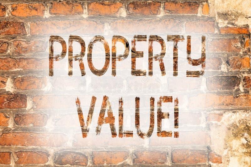 Nota de la escritura que muestra valor de una propiedad Estimación de exhibición de la foto del negocio digno del arte residencia imágenes de archivo libres de regalías