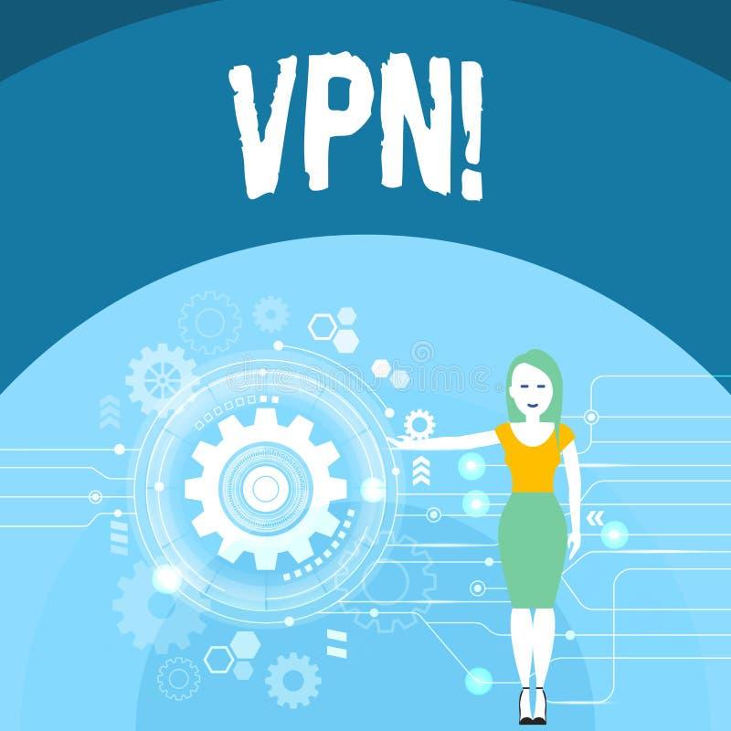 Nota de la escritura que muestra Vpn Foto del negocio que muestra la red privada virtual asegurada a través del ámbito confidenci stock de ilustración
