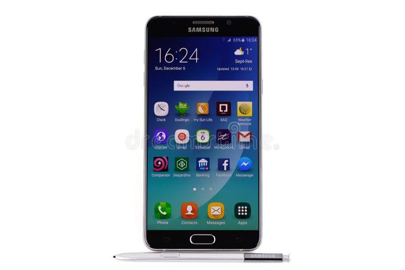 Nota 5 de la galaxia de Samsung foto de archivo