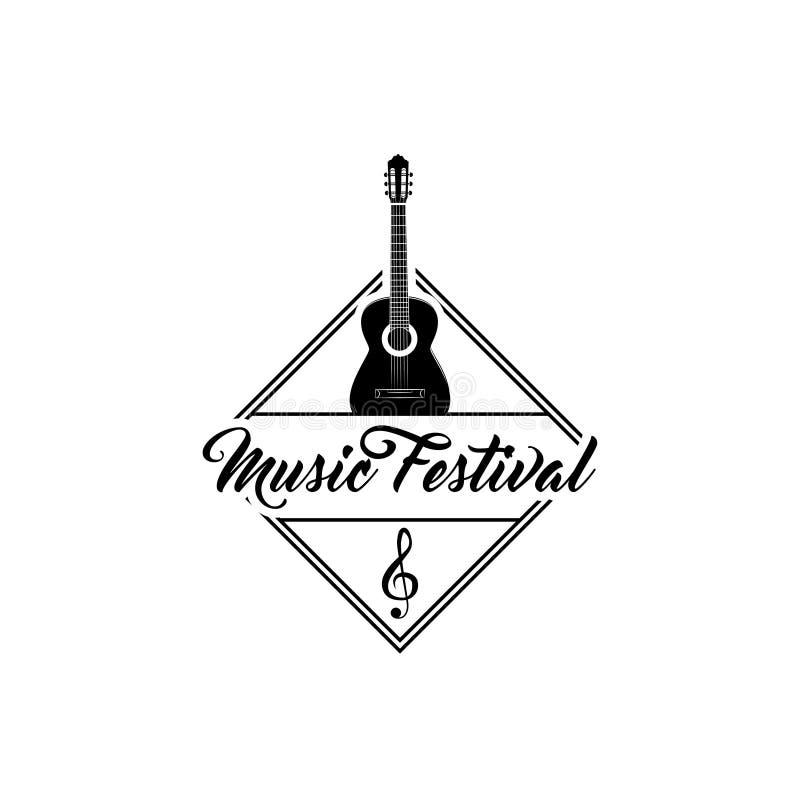 Nota de la guitarra y de la música Emblema de la etiqueta del logotipo del festival de música Ilustración del vector ilustración del vector