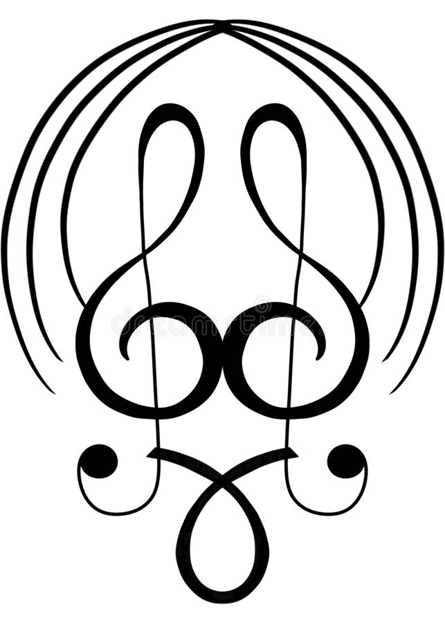 Nota de la música en forma duplicada libre illustration