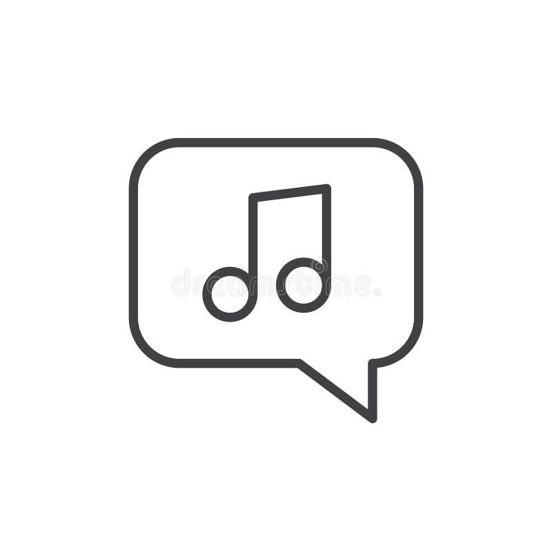 Nota de la música en la línea icono, muestra del vector del esquema, pictograma linear de la burbuja del estilo aislado en blanco libre illustration