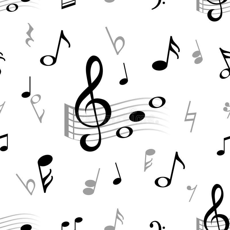 Nota de la música inconsútil Modelo abstracto del vintage del vector del jazz del coro de la música clásica del bastón de la armo ilustración del vector