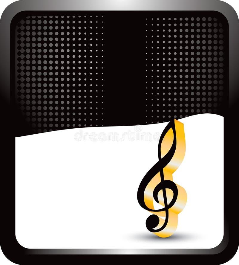 Nota de la música sobre bandera de semitono negra ilustración del vector