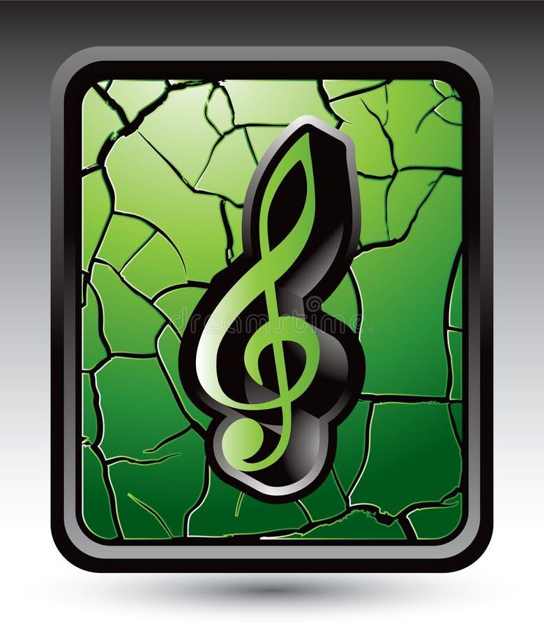Nota de la música sobre el botón agrietado verde del Web ilustración del vector