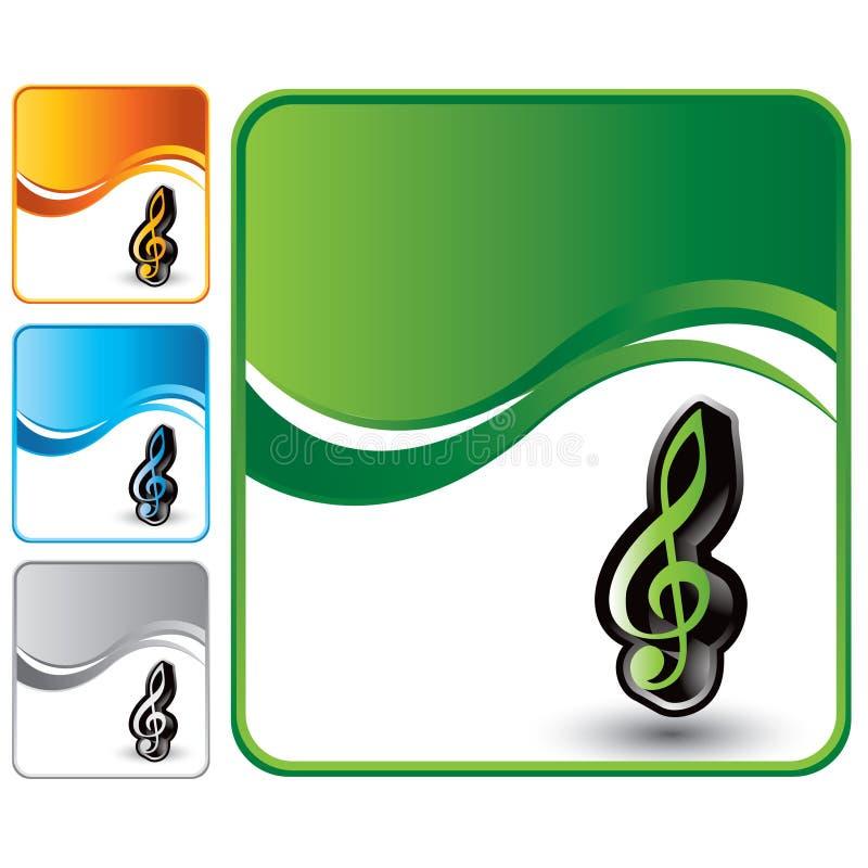 Nota de la música sobre fondo de la onda verde stock de ilustración