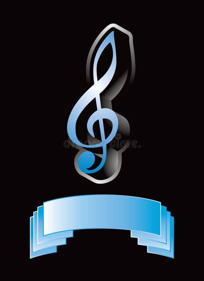 Nota de la música sobre la visualización azul stock de ilustración