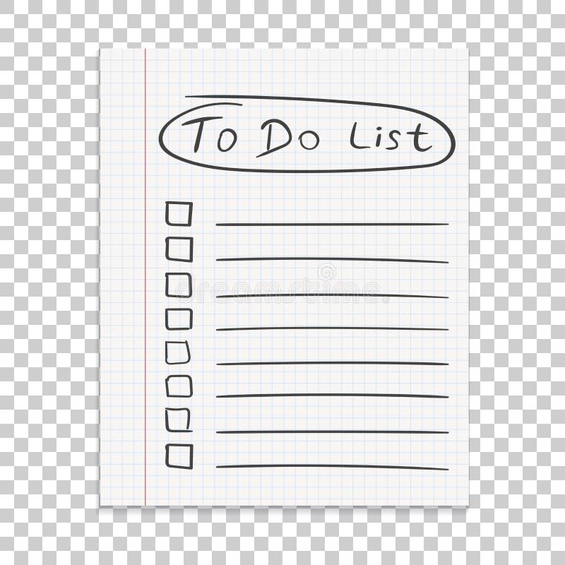 Nota de papel realista Para hacer el icono de la lista con la mano dibujada mande un SMS Scho ilustración del vector