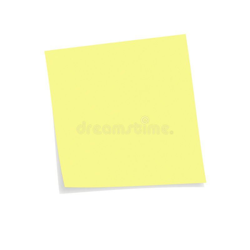 Nota de post-it amarela foto de stock