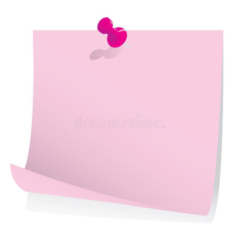 Nota de post-it com pino do impulso ilustração do vetor