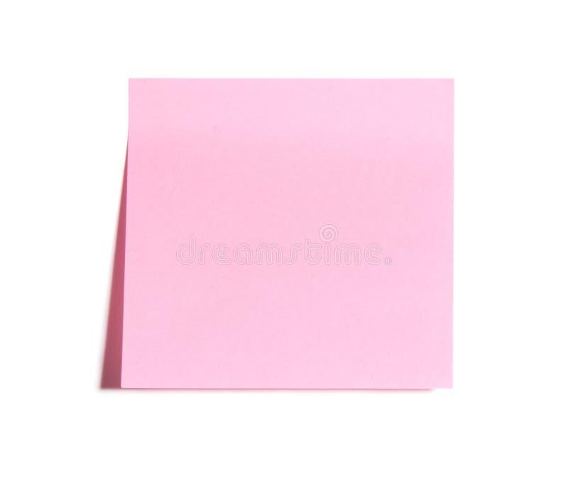 Nota de post-it cor-de-rosa em branco foto de stock