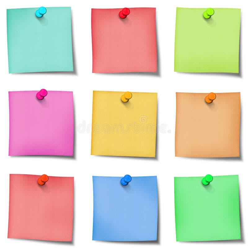 Nota de post-it de nove cores com pinos imagem de stock royalty free