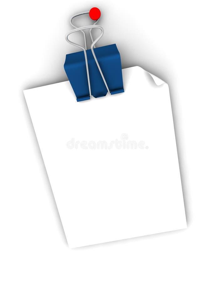 Nota de post-it y clip azul fotografía de archivo
