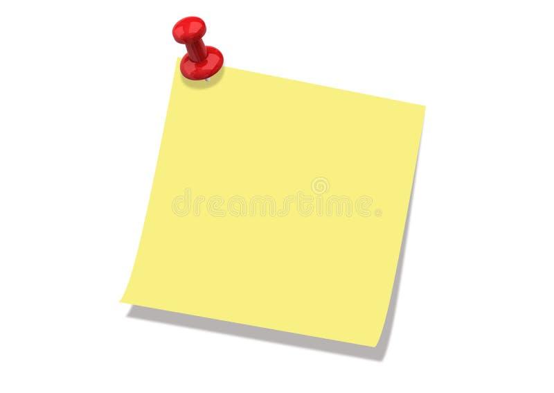 NOTA DE POST-IT Y PIN imagen de archivo