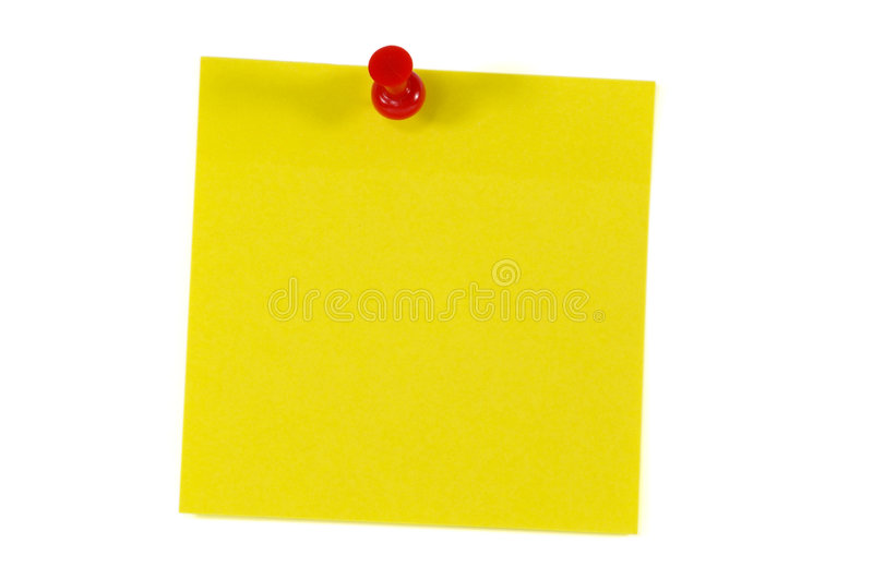 Nota de post-it y Pin del empuje foto de archivo