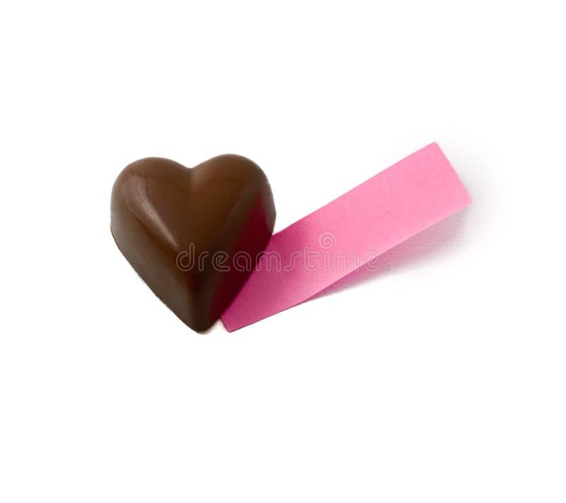 Nota del corazón de Chocklate imagen de archivo libre de regalías