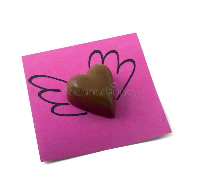 Nota del corazón del chocolate fotos de archivo
