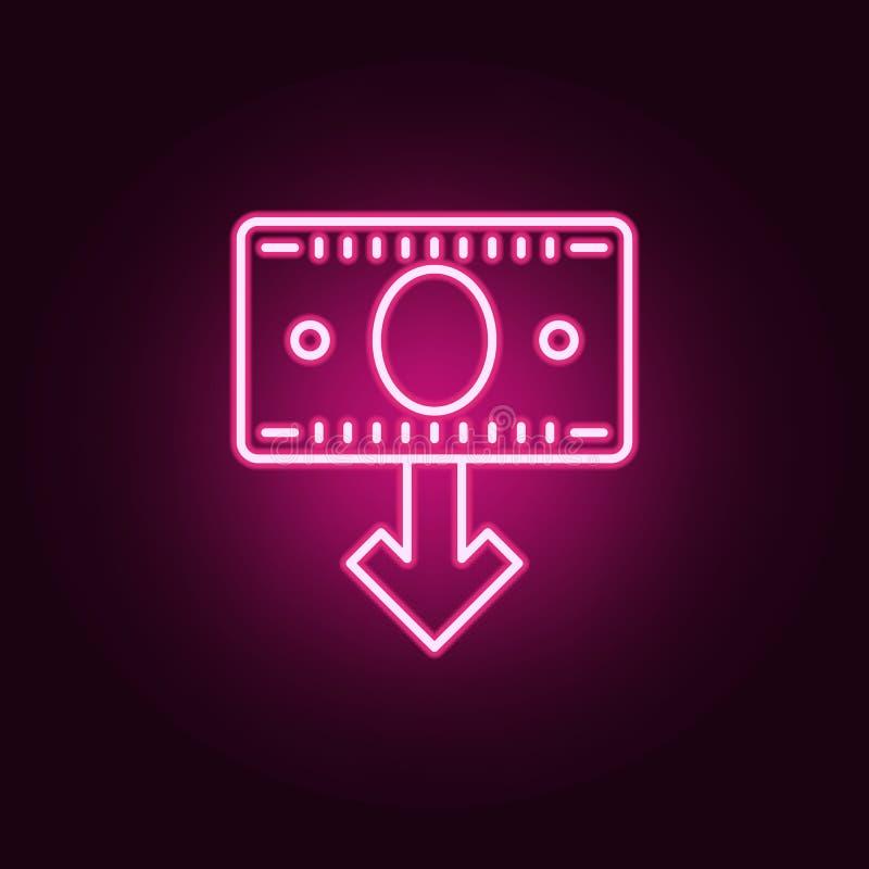 nota del dinero abajo del icono de neón de la flecha Elementos del sistema de las actividades bancarias Icono simple para las pág stock de ilustración