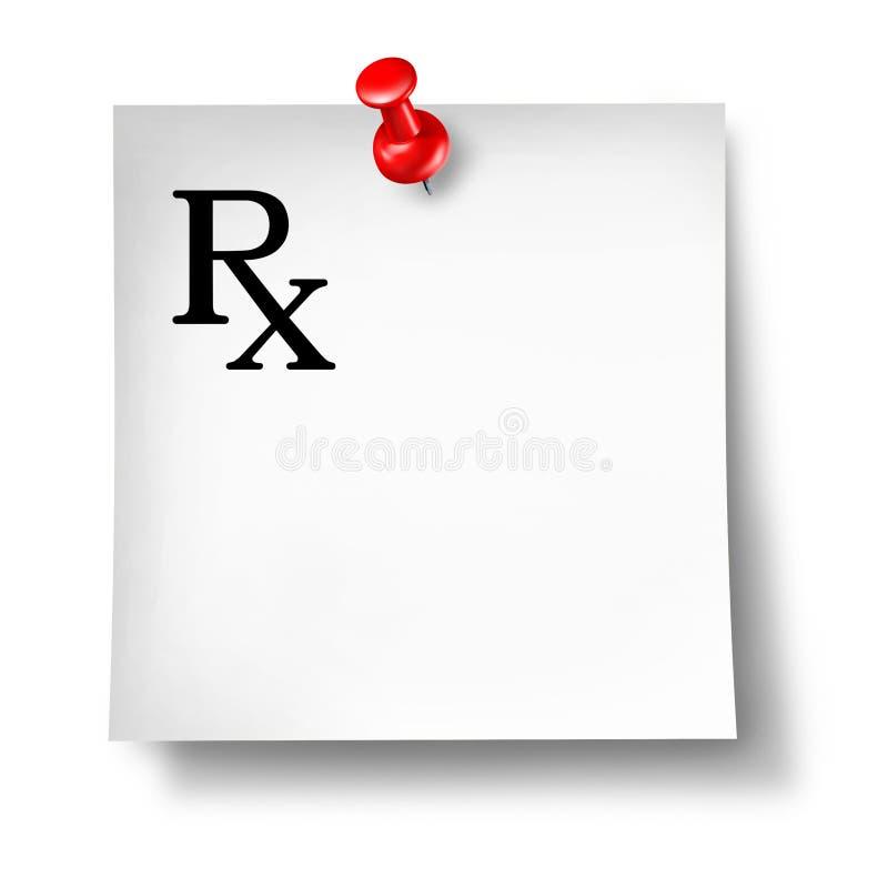 Nota dell'ufficio di prescrizione isolata illustrazione di stock