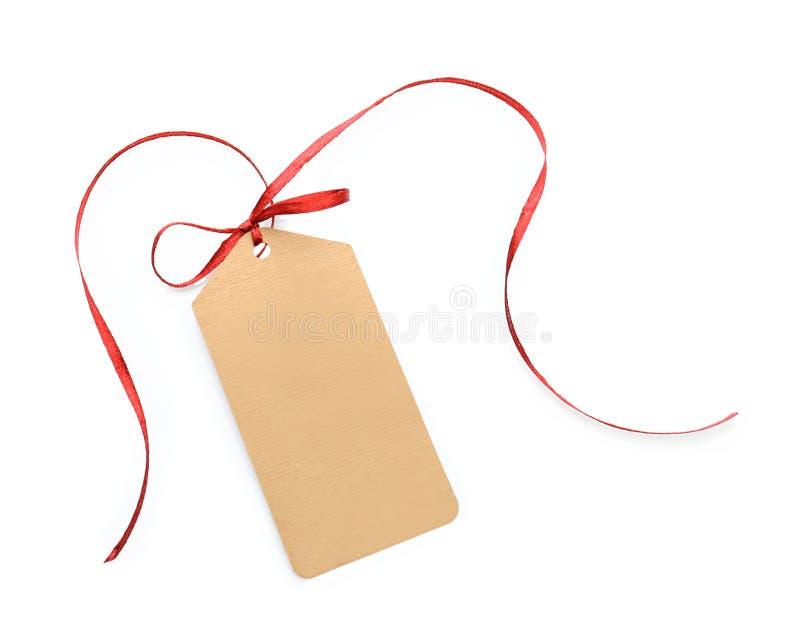 Nota della scheda con il nastro rosso fotografia stock