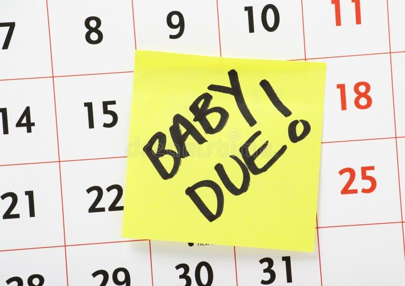 Nota devida do lembrete do bebê imagens de stock
