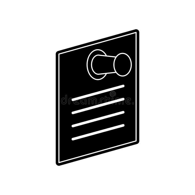 Nota di carta con l'icona stabilita del perno di spinta Elemento di istruzione per il concetto e l'icona mobili dei apps di web G illustrazione di stock