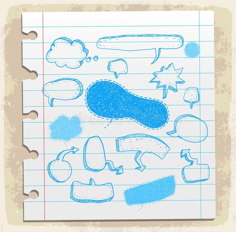 Nota di carta stabilita del fumetto comico, illustrazione di vettore illustrazione vettoriale